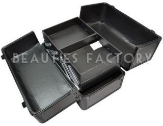 Pure Black Hard Makeup Beauty Nail Art Case Box 342N