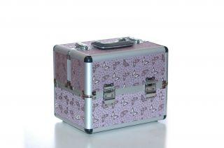 Jumbo Pro Makeup Kit Train Case Fits 88 Palette Pink Butterfly Design