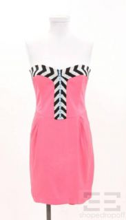 Mara Hoffman Hot Pink Silk Black White Beaded Strapless Dress Size 4