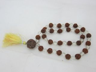 Yoga Prayer Mala Rudraksha Combination Clear Crystal Meditation Mala