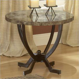 Hillsdale Monaco Metal w Faux Marble Top End Table