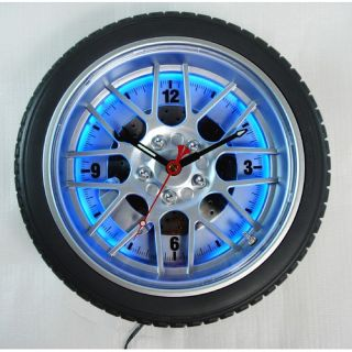 Maples Clock 18 Tire Wall Clock with Blue Neon Light L2277 D18 BU