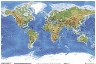 World Map Satellite Physical Wall Chart Poster 228