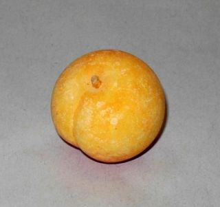 Italian Hand Carved Stone Marble Alabaster Peach Fruit Miniature
