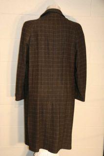 PLAID WOOL VINTAGE 40s 50s MARBURY ROCKABILLY LONG DRESS OVER TOP COAT