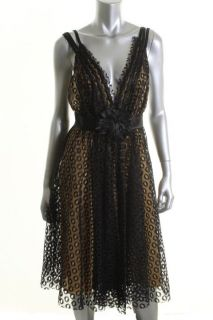 Marc Bouwer New Black Lace Deep V Neck Empire A Line Cocktail Dress 6