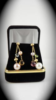 Marco Bicego 18 Karat Yellow Gold Earrings with Colored Stones