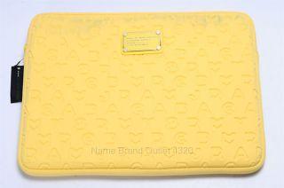 Marc Jacobs Stardust Logo Neoprene Laptop Computer Case Yellow 13