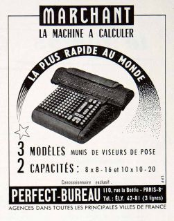 1957 Ad Marchan Calculaion Machine Perfec Bureau 110 Rue Boeie