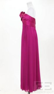 Marchesa Notte Fuschia Pink Silk Chiffon Satin Evening Dress Size 8