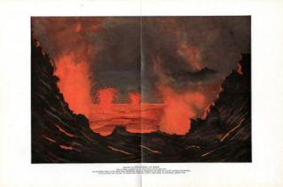 C1900 Volcano Kilauea Eruption Hawaii Antique Litho Print H Kraemer