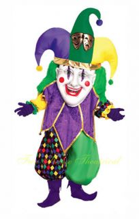 Mardi Gras Jolly Jester Halloween Costume Masquerade Party Mascot