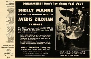Avedis Zildjian Cymbals Shelly Manne Jazz Drum   ORIGINAL ADVERTISING