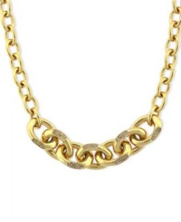 Vince Camuto Necklace, Gold Tone Glass Crystal Graduated Chain