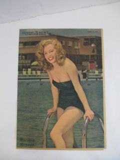 Original Sunday News August 1949 Marilyn Monroe Cover