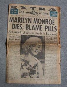 Marilyn Monroe Original Los Angeles Times Extra Newspaper August 6