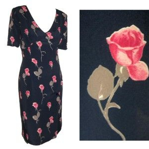 New Mariella Burani Italian Couture 30s Hollywood Rose Print Dress $
