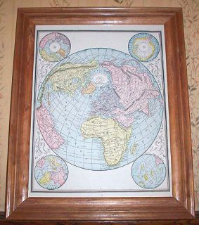 Decorative Authentic Antique Map of The World Genuine 125 Years Old