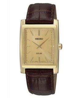 Seiko Watch, Mens Black Leather Strap 32mm SNF672   All Watches