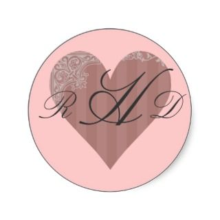 Antique Pink Rose Heart Stickers