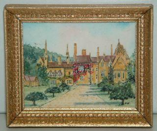 Dave Williams Original Miniature Painting Tyntesfield House Wood Frame