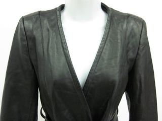 Black Leather Belted Coat Jacket Sz S