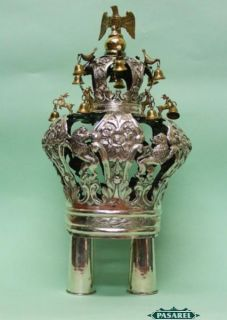 RARE Antique Polish Parcel Gilt Silver Torah Crown by Moszek Charlap