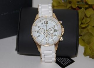 275 New Marc Jacobs Rock Womens Quartz White Gold Chronograph Watch