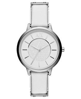 Armani Exchange Watch, Womens Stainless Steel and White Leather