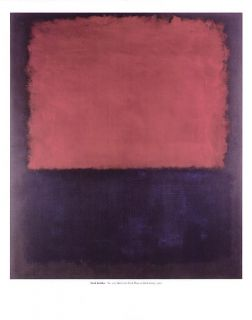 Mark Rothko Untitled Abstract Print Red Over Dark Blue