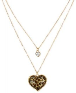 Betsey Johnson Necklace, Antique Gold Tone Glass Crystal Princess and