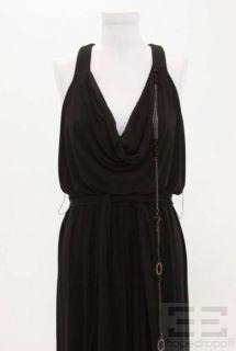 Mark James Badgley Mischka Black Jersey Beaded Chain Long Dress Size S