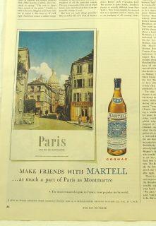 1956 Martell Cognac Paris Old Town Scene Photo Ad