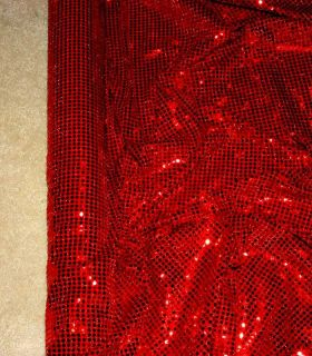 Sequin Knit Stretch Fabric Red 56 by The Yard