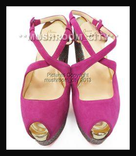 Stunning Christian Louboutin Martel 140 Pink Glitter Suede Platforms