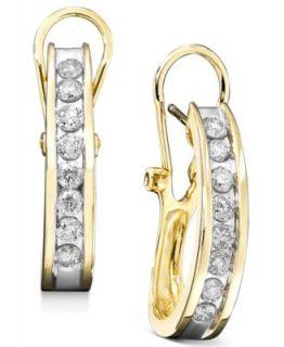 Diamond Earrings, 14k Gold Diamond 2 Row Channel Hoop Earrings (3/8 ct