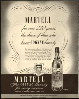 1937 Print Ad Martell Cognac Brandy Over 220 Years