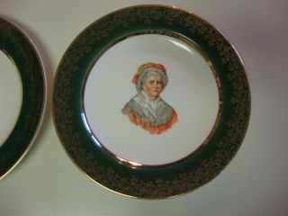 George and Martha Washington Green Gold Trim Capsco Collector Plate