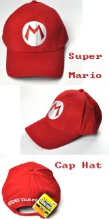 New Super Mario Bros Anime Cosplay Mario M Hat Red Cap Tag FM0516A