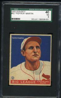 Goudey Baseball #62 Pepper Martin, St. Louis Cardinals, HOF, SGC 40/3