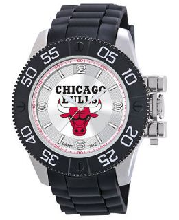 Game Time Watch, Mens Chicago Bulls Black Polyurethane Strap 47mm NBA