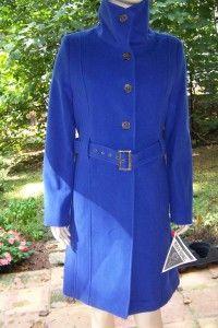Marvin Richards M L Royal Blue Belted Funnel Neck Cashmere Wool Coat L