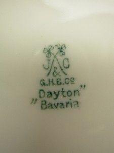 Antique J C Jaeger Green Dayton Bavaria Porcelain Salad Plate Painted
