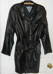 XL J Percy Marvin Richards Womens Black Leather Belted Double Breasted