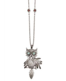 Betsey Johnson Necklace, Gold Tone Glass Owl Pendant
