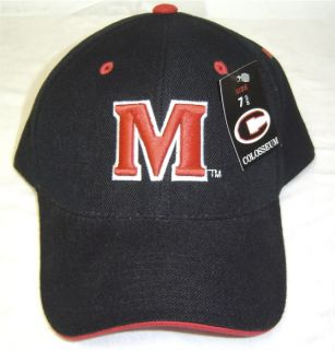 New Black University of Maryland Terrapins M logo Fitted Cap by