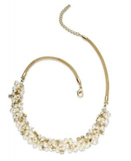 Charter Club Necklace, Gold Tone Glass Pearl Cluster Necklace