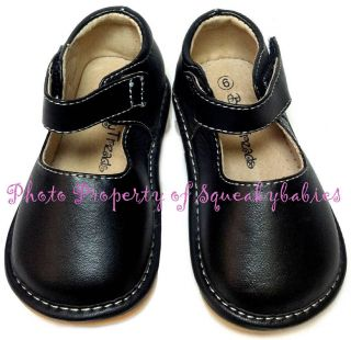 Squeaky Shoes Toddler Black Leather Mary Jane Soft Flex Sole Plain