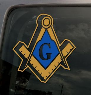 3D Masonic Symbol Gold and Blue Vinyl Sticker Decal