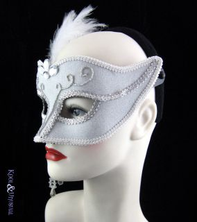 White Silver Masquerade Mask Feathers Beads